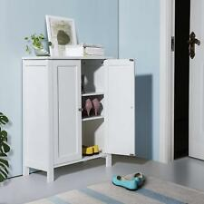 Bathroom Floor Storage Cabinet with Double Door Adjustable Shelf White