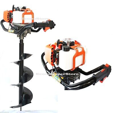 One Man Gas Post Hole Digger Fencing Soil Drill Machine w/4