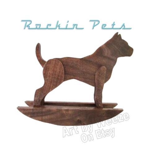 Rocking Pit Bull Wood Rocking Dog