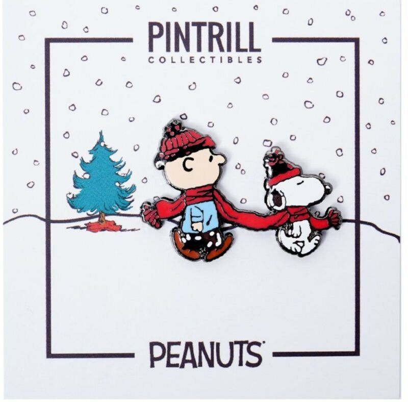 PINTRILL X PEANUTS - Charlie Brown & Snoopy Winter Scarf Pin *SOLD OUT* NEW 🧣🎄