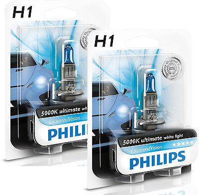 2x PHILIPS Diamond Vision 5000k Headlight Bulb H1 55W - Authentic