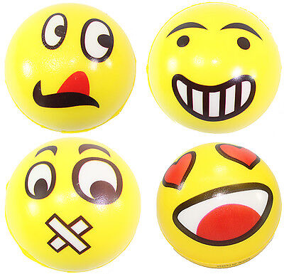 4 Big Emoji Faces Hand Wrist Finger Exercise Stress Relief Therapy Squeeze Balls (Ball Emoji)