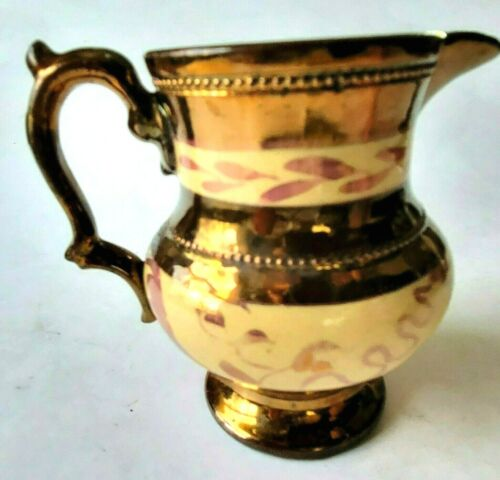 """Antique Copper Luster Lusterware Cream/Pink Band 4.25""""Milk Pitcher Hand Painted"""