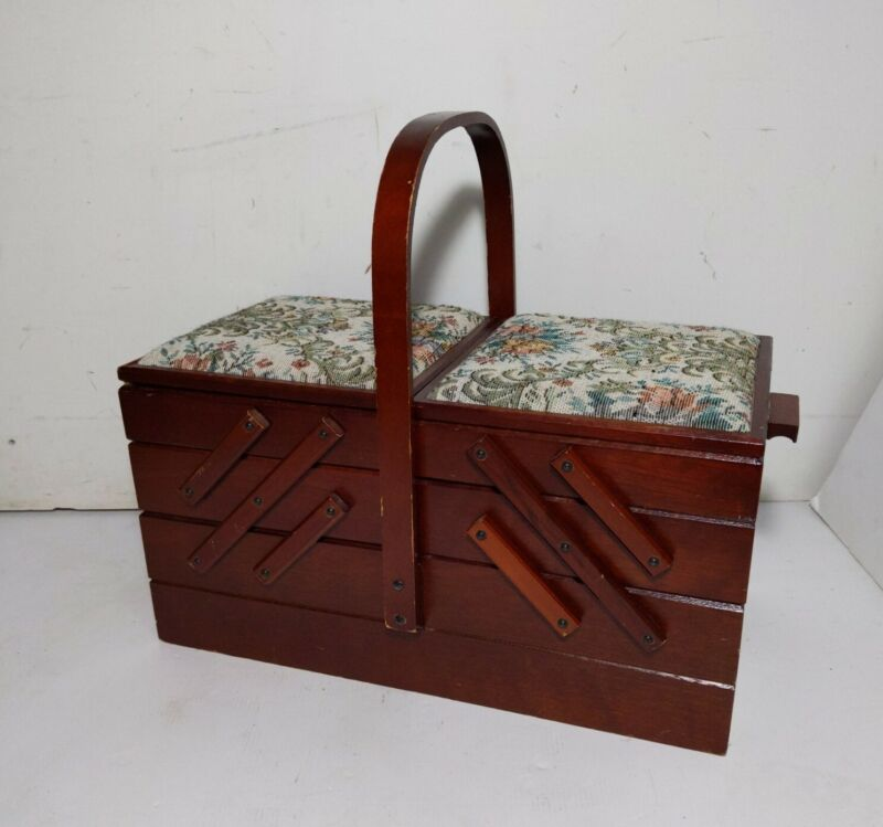 Vintage Accordion Fold Out Wood Sewing Box Needlepoint Cushion