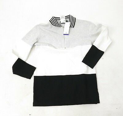 Vtg 90's NOS Hunt Club Color Block Partial Zip Long Sleeve Polo Rugby Shirt S (Hunting Rugby)