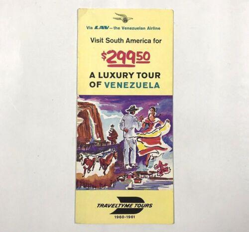 1960 Vintage Travel Tyme Tours Pamphlet Brochure Venezuela Airline South America