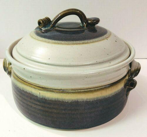 Stoneware Pottery Tureen Casserole Dish With Lid Handles Purple Blue Cream Brown