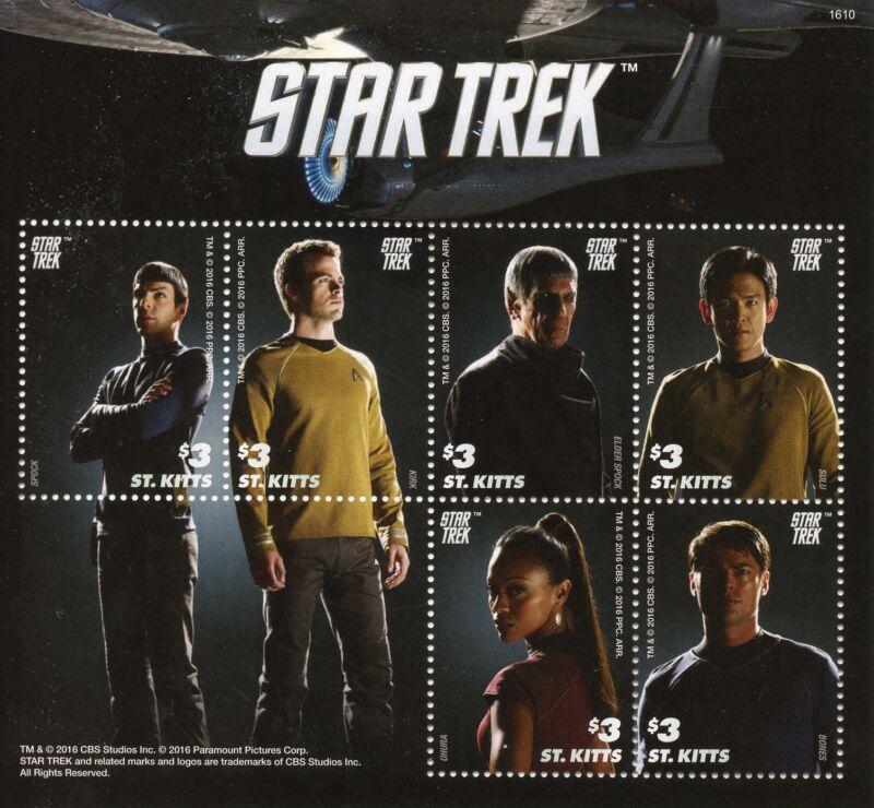 St+Kitts+2016+MNH+Star+Trek+6v+M%2FS+Spock+Kirk+Uhura+Sulu+Bones+Stamps