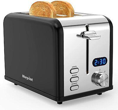Grille Pain Noir Inox Baguette Automatique Toaster 2 Tranche 6 Niveaux