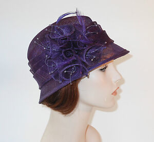 New Woman Church Derby Wedding Sinamay  Ascot Cloche Purple Dress Hat 1711