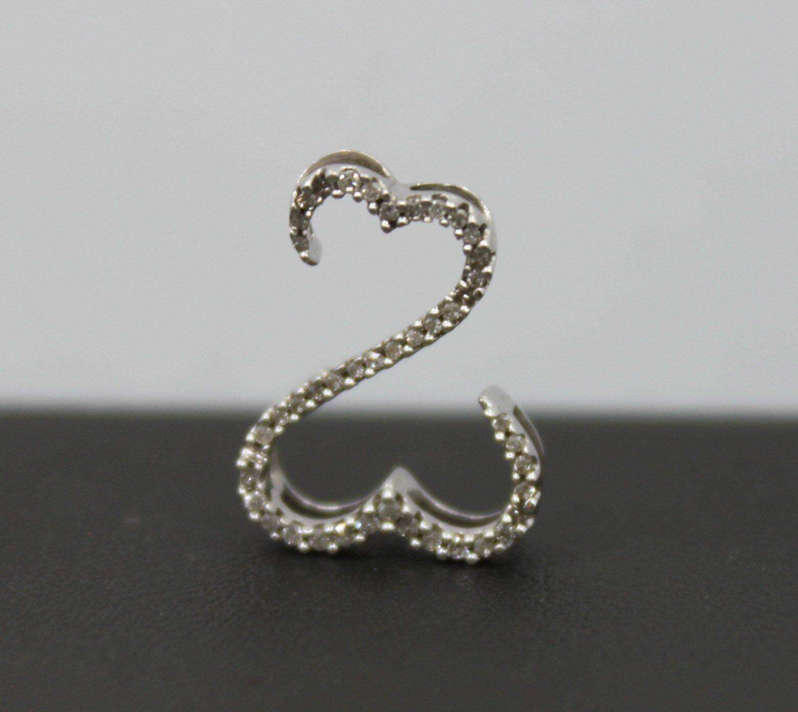 jane seymour 14k white gold open hearts diamond pendant 1. Black Bedroom Furniture Sets. Home Design Ideas