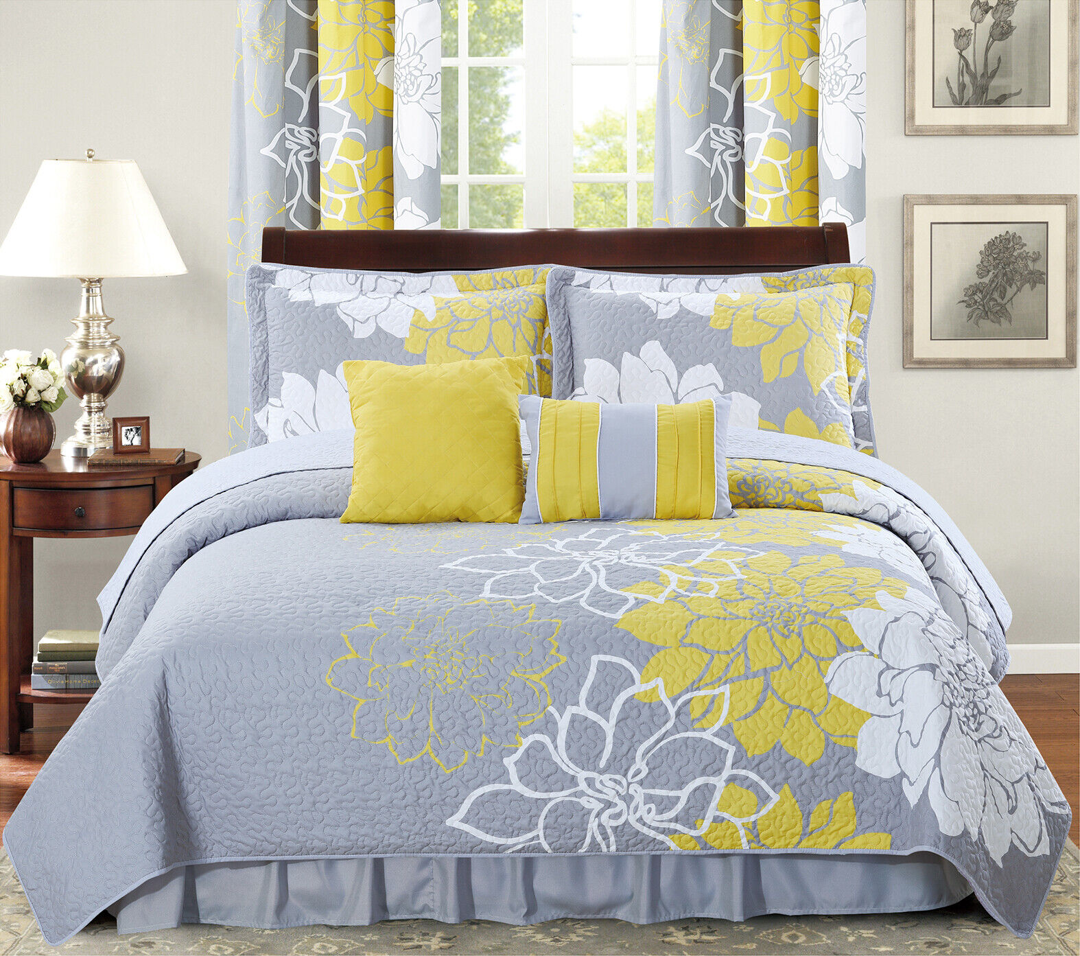 new 6 piece printed reversible bedspread set