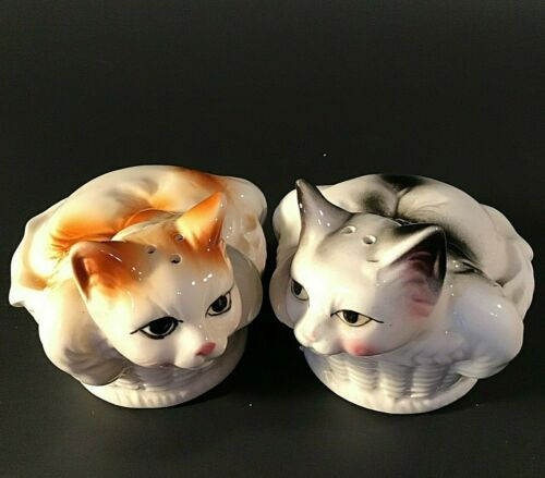 CAT SALT AND PEPPER SHAKERS VINTAGE CATS IN BASKETS PORCELAIN