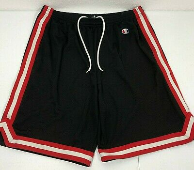 Champion Lined Gym Shorts Sz L Black Red White Mesh Athletic Basketball Running Champion White Basketball Shorts