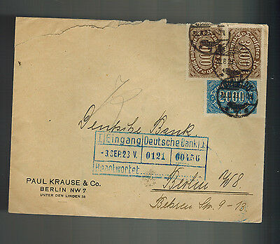 1923 Berlin Germany Inflation Cover Deutsche Bank Paul Krause