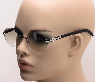Mens CLASSY Style Wood Buffs Vintage Oval Style Rimless Clear Lens Eye Glasses Rimless Mens Lens