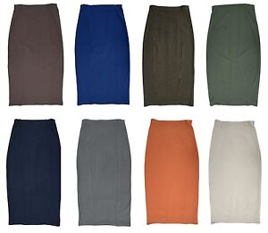 ELASTIC-WAIST-LONG-STRETCH-SKIRT-BROWN-BLUE-GREEN-GREY-WHITE-RUST-TAUPE