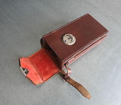 ANTIK VINTAGE LEDER BOX KAMERA ZUBEHÖR 1900 - 1930 England INNEN SAMT