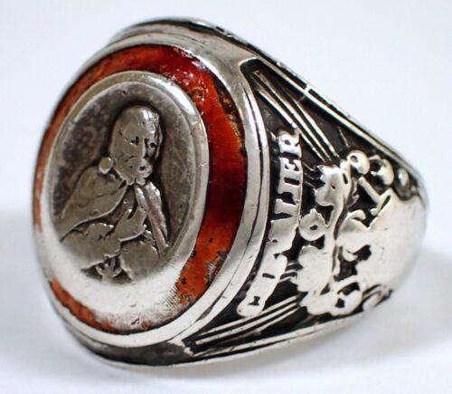 RARE Antique Vtg Sterling Silver Enamel Chevalier Demolay Masonic Ring Sz 9