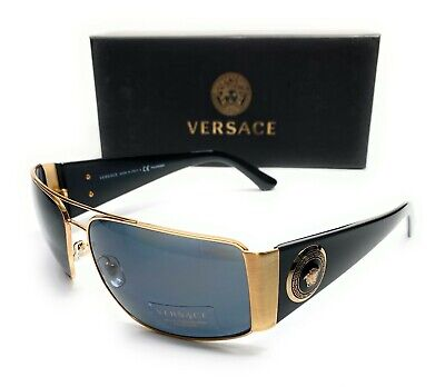 Versace VE2163 1002 81 Black Gold Men Rectangle Metal Polarized Sunglasses 63-15