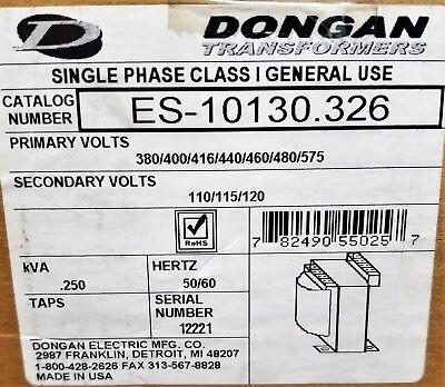 Dongan Transformer Es-10130.326 250 Kva 460v480v Pri 120v Sec 1-phase B8s2