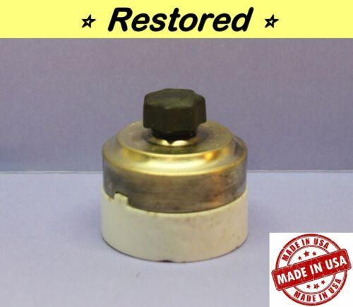 Vintage Rotary Round Light Switch, Single-Pole, ON/OFF, Brass/Porcelain, CEM CO.