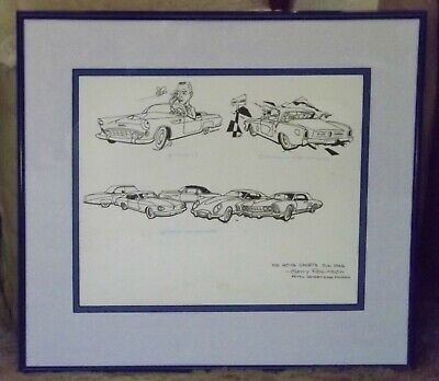 Vintage 1950's Studebaker original Illustration art Gerry Robinson Motor Sports