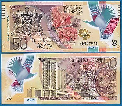 Trinidad and Tobago 50 Dollars P 56 New 2015 UNC Polymer Low Shipp! Combine FREE