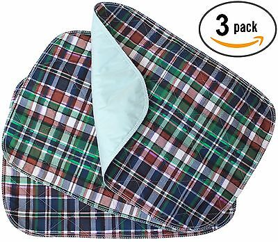 3 PACK - Plaid Small Washable Chair Pad Bed Pad / Small Incontinence Underpad (Pad Bed Pack)