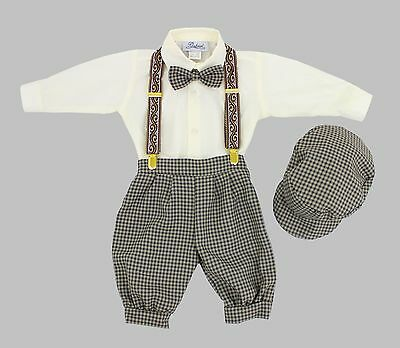 Baby Toddler Knickers Vintage Set Outfit Beige Plaid Knickers and Ivory Shirt