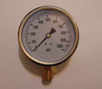New Hydraulic Liquid Filled Pressure Gauge 0-1000 Psi 4 Face 12 Npt Lm