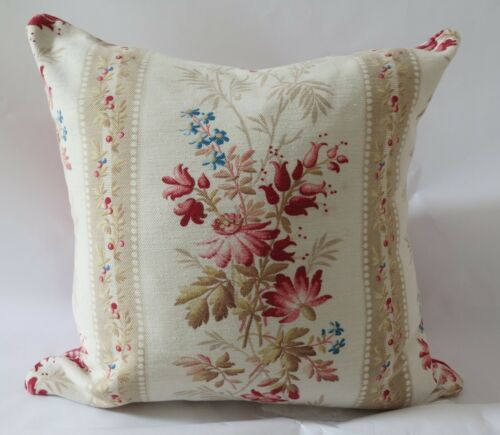 Lovely 19th Century French Floral & Homespun Linen Kelsch Pillow