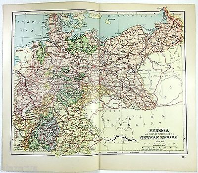 Original 1895 Map of Prussia & The German Empire