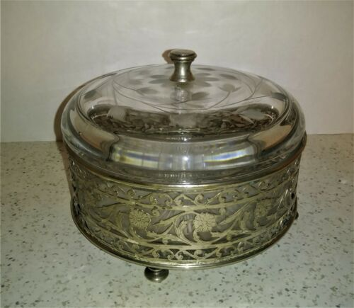 Vintage Floral Silverplate Victorian Style Glass Vanity Dresser Powder Jar