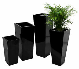 grand cache pot de fleur vas en fibre de verre noir laqu jardiniere jardin ebay. Black Bedroom Furniture Sets. Home Design Ideas
