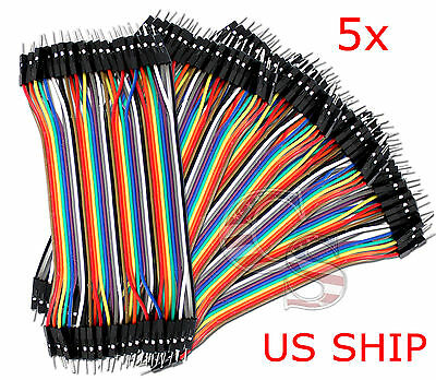 5x 40pcs 10cm Male To Male Dupont Wire Jumper Cable For Arduino Breadboard