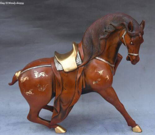 """13"""" China Purple Bronze Gilt Running Horse Zodiac Year Animal horses Statue"""