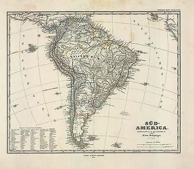 1874 F. von Stupmagel's Sud America (South America) Original Map,Outline Color