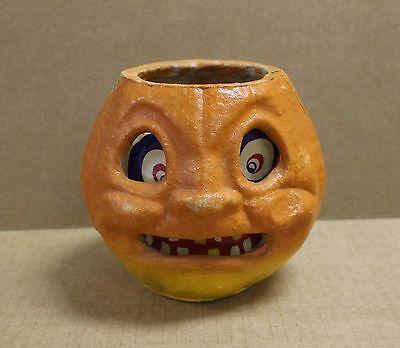 "Vintage 6"" Jack O' Lantern JOL Pumpkin Paper Mache w/Insert 0400"