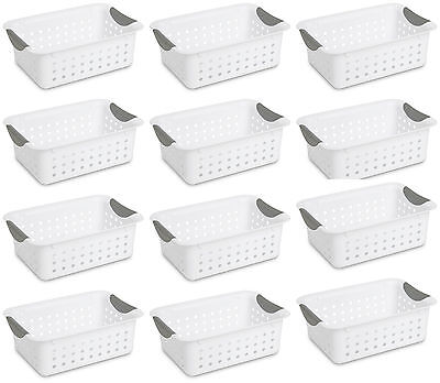 12 Sterilite 16228012 Small Ultra Plastic Storage Bin Organizer Baskets -white