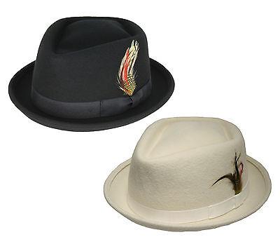 Adult Stinger Fedora Trilby Godfather Wool Swanky Costume Hat Black White M L - Black And White Fedora Hat