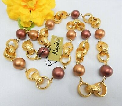 NWT NAPIER COPPER TONE FAUX PEARL & TEXTURED GOLD TONE CIRCLE LINK NECKLACE 30