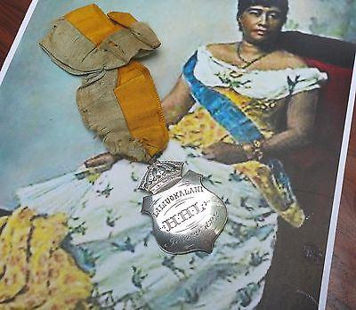 1892 QUEEN LILIUOKALANI hawaiian jewelry antique hula girl art vtg iolani palace