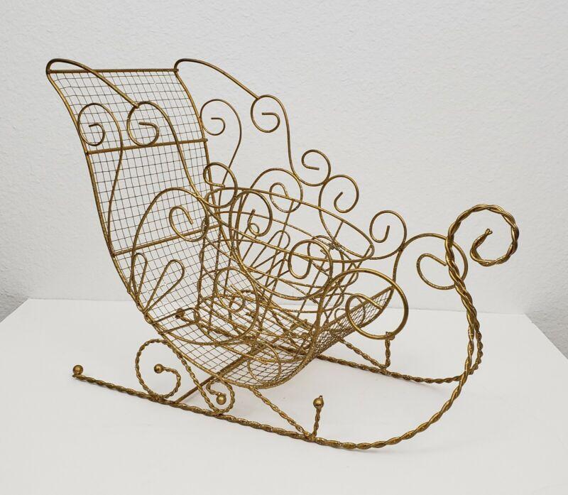 Vintage Large Christmas Gold Santa Sleigh Holidays Decor Decorations Basket