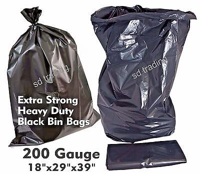 50 Extra Strong Heavy Duty 200Gauge Black Bin Refuse Bags Sacks Wholesale offer
