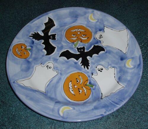 "13"" Mesa International Halloween Plate With Pumpkins Bats and Ghosts VERY RARE!"