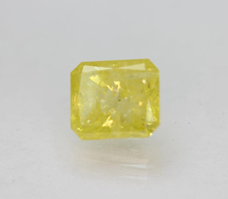 Cert 2.22 Carat Vivid Yellow SI3 Radiant Enhanced Natural Diamond 7.75x6.84mm