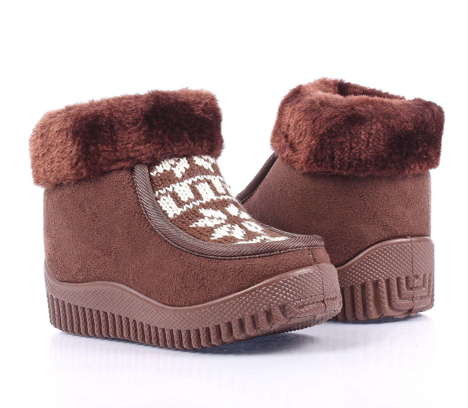 Camel Zipper Open Faux Fur Booties Toddlers Kids Girls Winter Boots Shoes