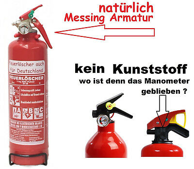1 kg Feuerlöscher Pulver ABC EN 3 KFZ Halter Auto Mesingarmatur kein Kunststoff