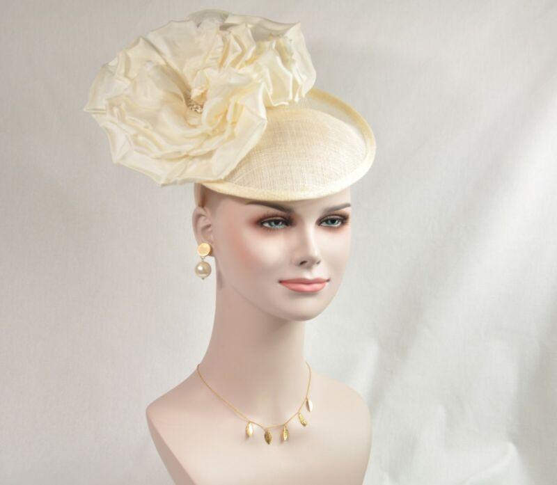 Ivory Silk Flower with Sinamay Fascinator Hat Kentucky Derby Wedding Tea